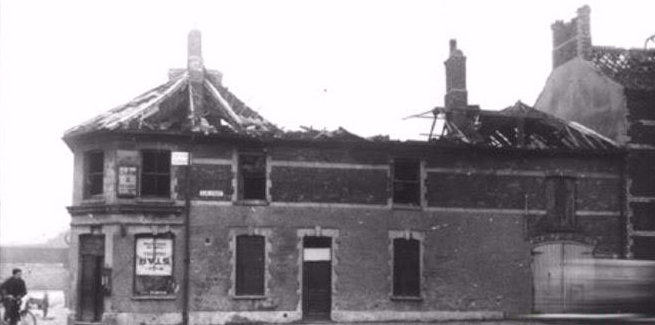 Clive Street Corner after bomb in 1941